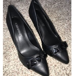 Catherines Shoes Black Heel Pumps  Wide NIB